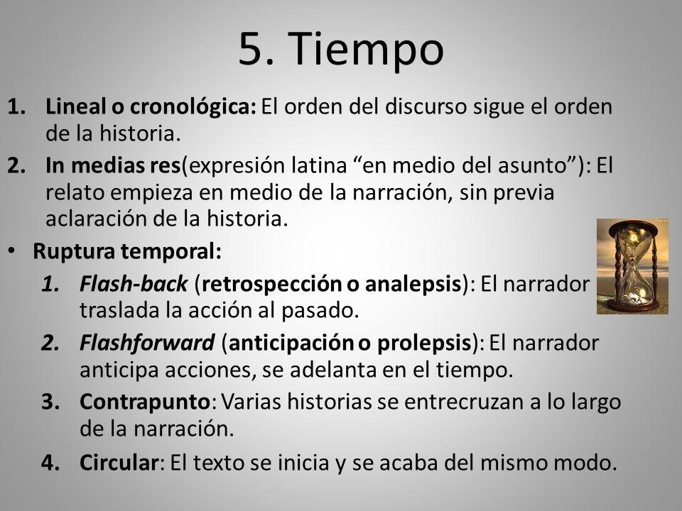 5. Tiempo 1.Lineal o cronológica: El orden del discurso sigue el orden de la historia. 2.In medias res(expresión latina en medio del asunto): El relat