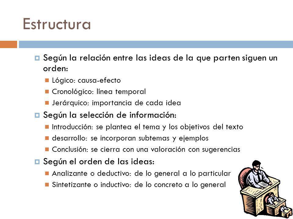 Estructura Según la relación entre las ideas de la que parten siguen un orden: Lógico: causa-efecto Cronológico: línea temporal Jerárquico: importanci