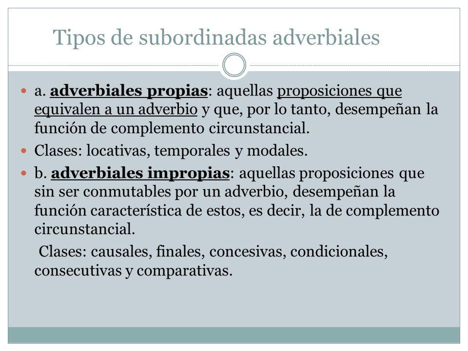 Tipos de subordinadas adverbiales a. adverbiales propias: aquellas proposiciones que equivalen a un adverbio y que, por lo tanto, desempeñan la funció