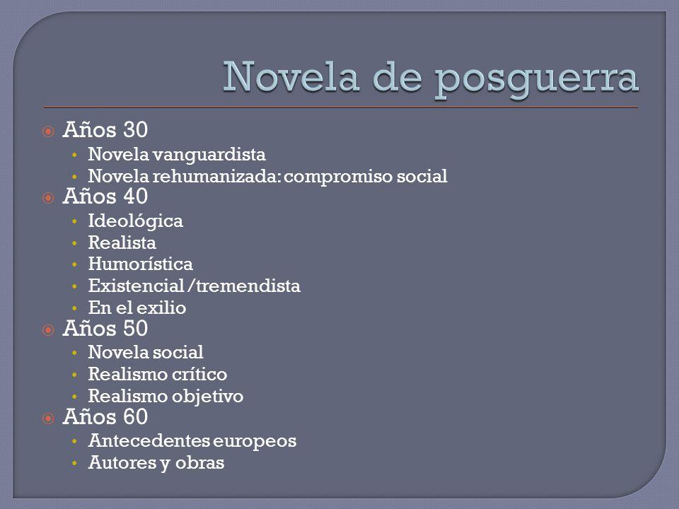 Años 30 Novela vanguardista Novela rehumanizada: compromiso social Años 40 Ideológica Realista Humorística Existencial /tremendista En el exilio Años