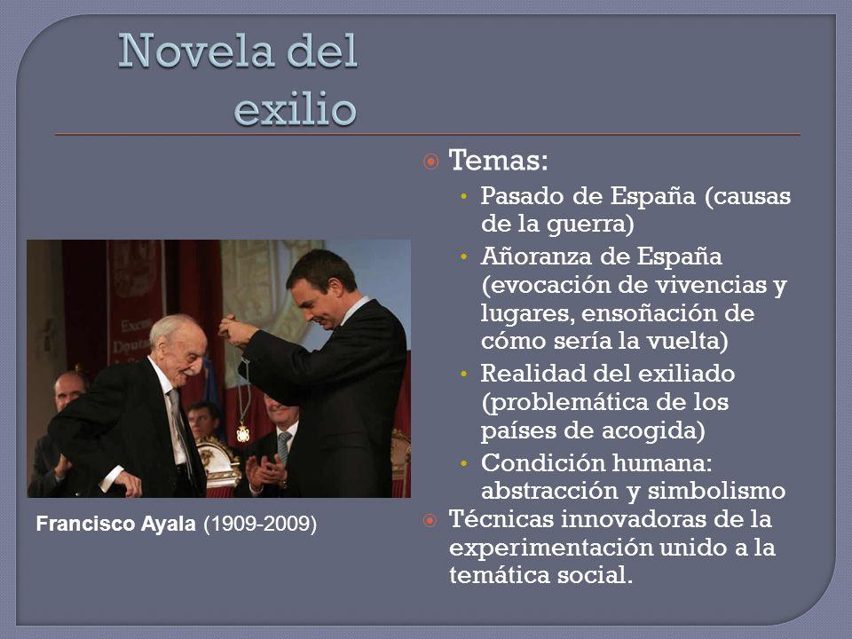 Temas: Pasado de España (causas de la guerra) Añoranza de España (evocación de vivencias y lugares, ensoñación de cómo sería la vuelta) Realidad del e