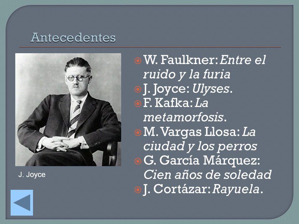 W. Faulkner: Entre el ruido y la furia J. Joyce: Ulyses. F. Kafka: La metamorfosis. M. Vargas Llosa: La ciudad y los perros G. García Márquez: Cien añ
