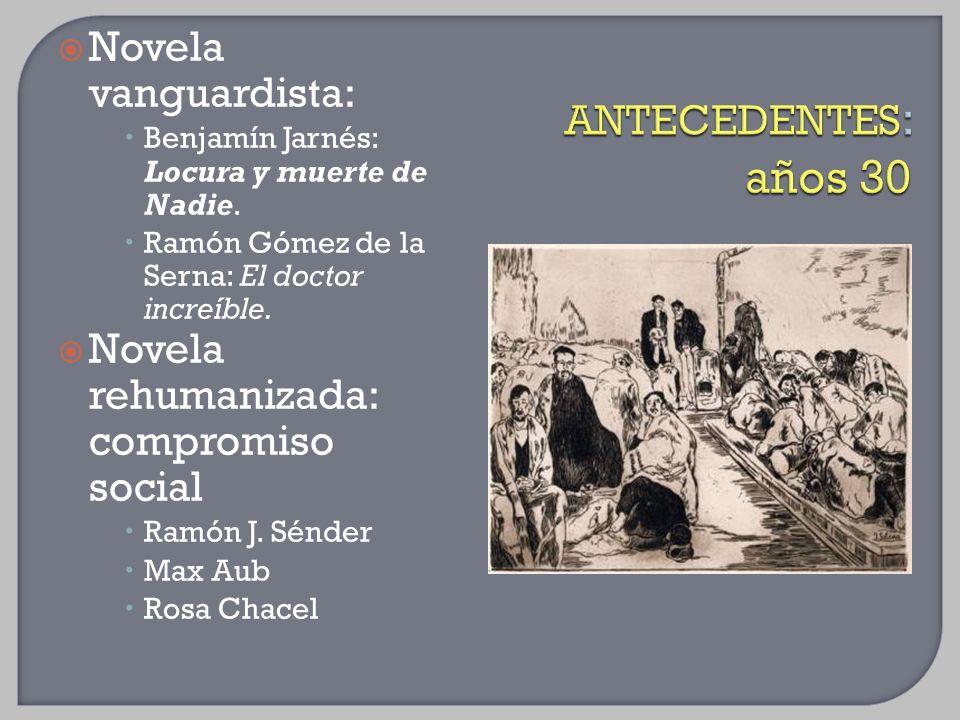 Novela vanguardista: Benjamín Jarnés: Locura y muerte de Nadie. Ramón Gómez de la Serna: El doctor increíble. Novela rehumanizada: compromiso social R