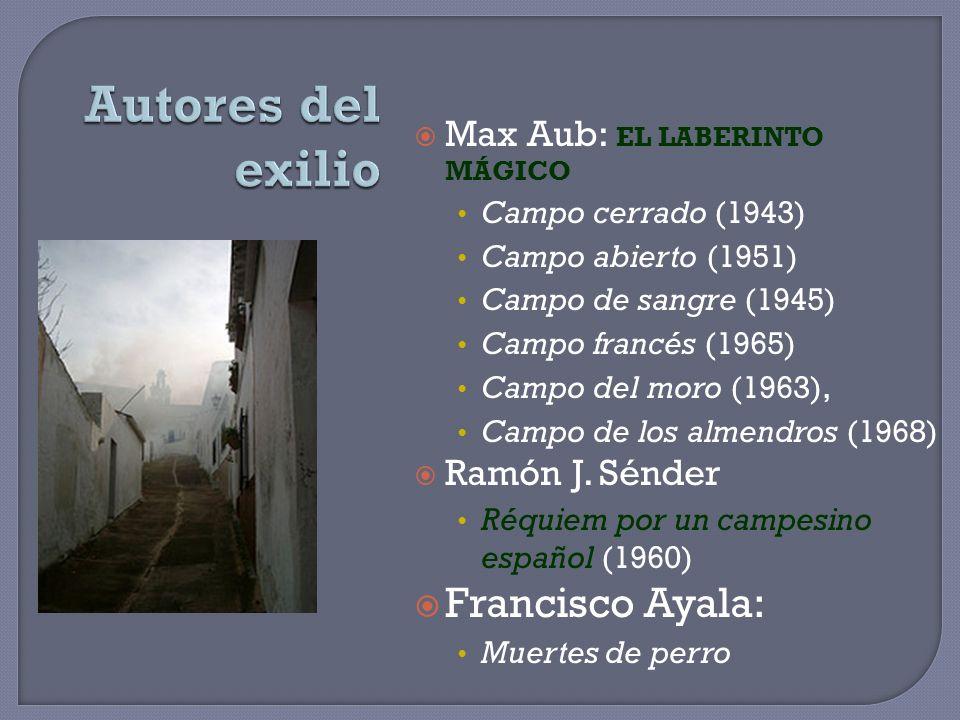 Max Aub: EL LABERINTO MÁGICO Campo cerrado (1943) Campo abierto (1951) Campo de sangre (1945) Campo francés (1965) Campo del moro (1963), Campo de los