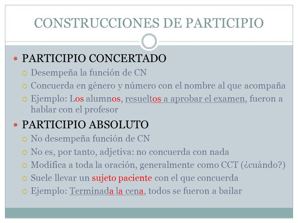 CONSTRUCCIONES DE PARTICIPIO PARTICIPIO CONCERTADO Desempeña la función de CN Concuerda en género y número con el nombre al que acompaña Ejemplo: Los