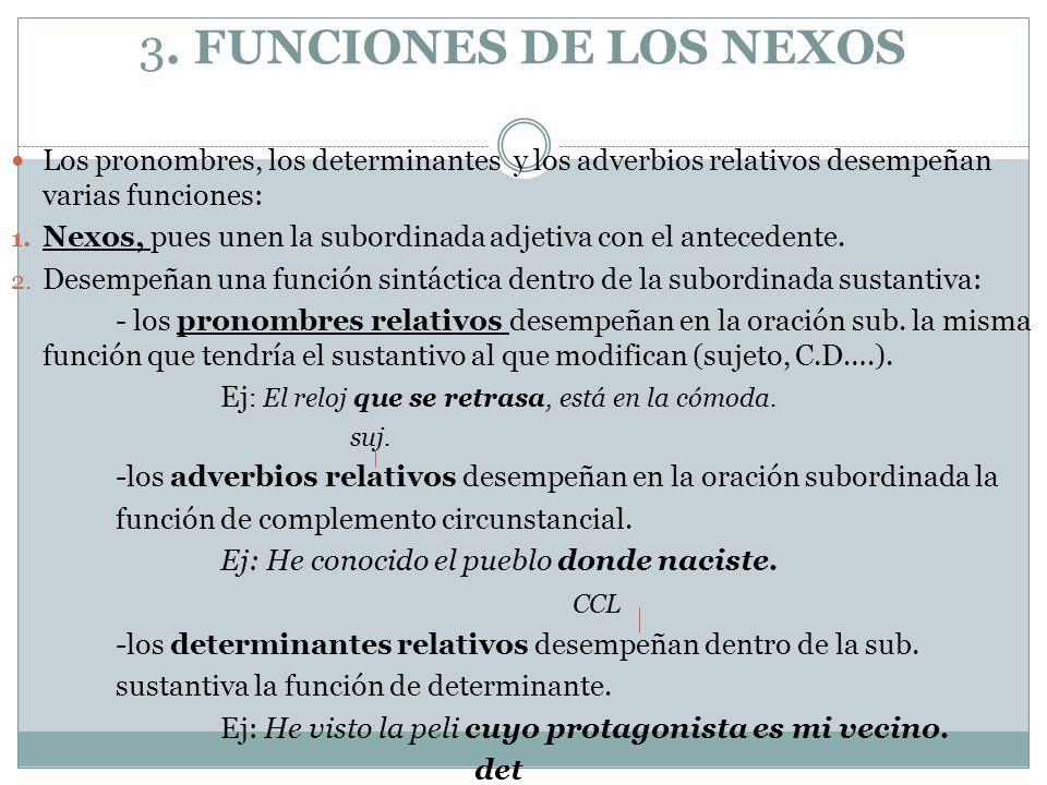 3. FUNCIONES DE LOS NEXOS Los pronombres, los determinantes y los adverbios relativos desempeñan varias funciones: 1. Nexos, pues unen la subordinada