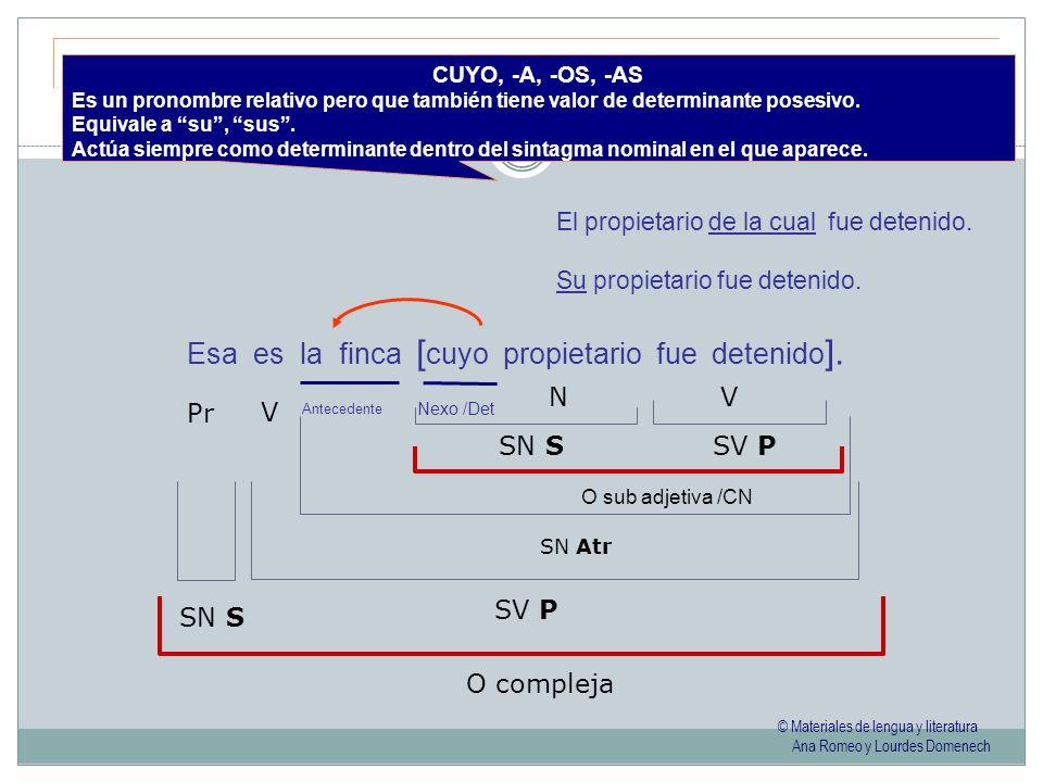 © Materiales de lengua y literatura Ana Romeo y Lourdes Domenech CUYO, -A, -OS, -AS Es un pronombre relativo pero que también tiene valor de determina