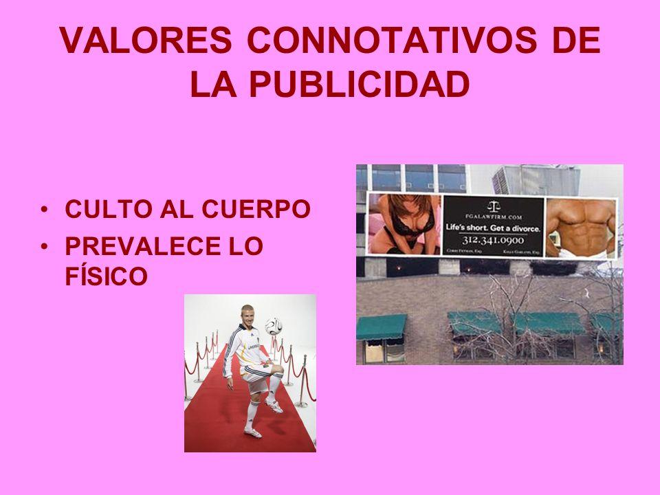 VALORES CONNOTATIVOS DE LA PUBLICIDAD CULTO AL CUERPO PREVALECE LO FÍSICO