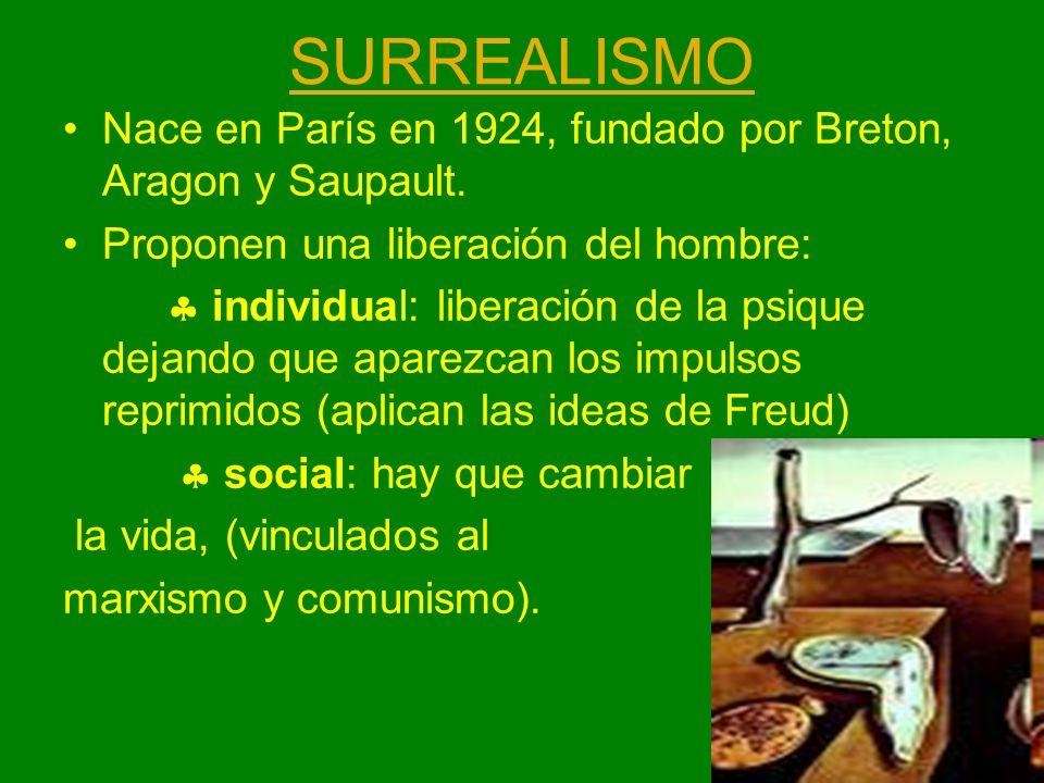 SURREALISMO Nace en París en 1924, fundado por Breton, Aragon y Saupault. Proponen una liberación del hombre: individual: liberación de la psique deja