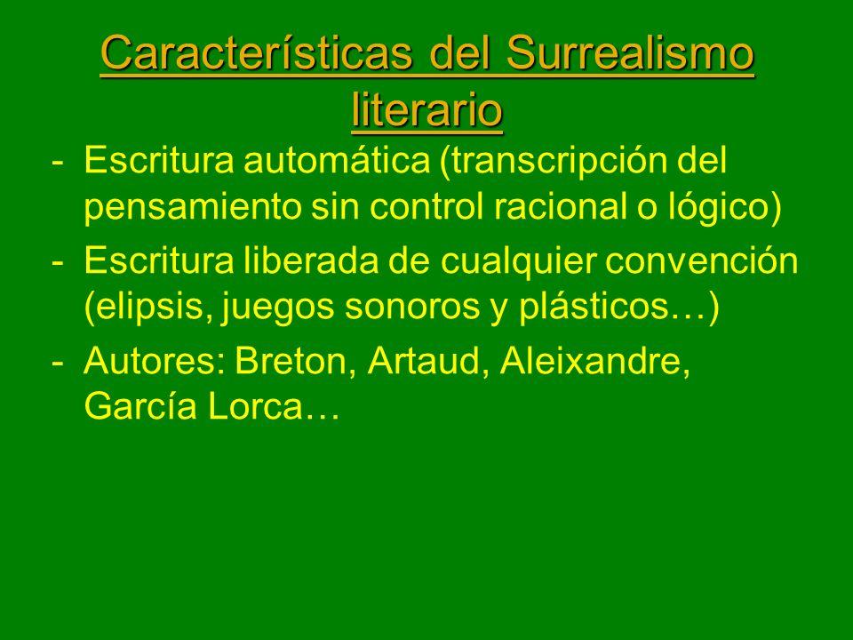 Características del Surrealismo literario -Escritura automática (transcripción del pensamiento sin control racional o lógico) -Escritura liberada de c