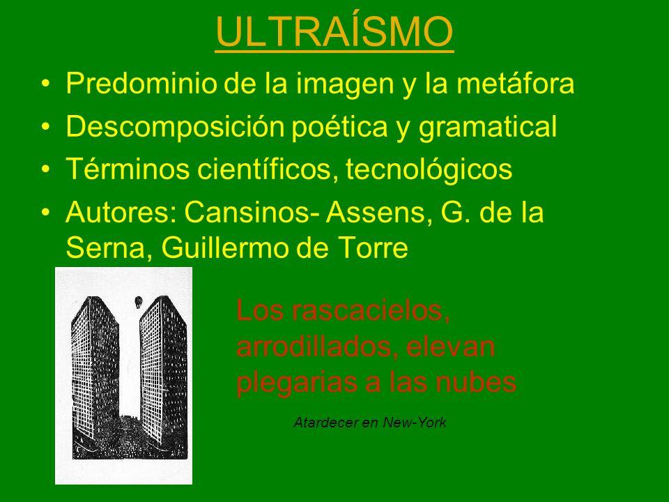 ULTRAÍSMO Predominio de la imagen y la metáfora Descomposición poética y gramatical Términos científicos, tecnológicos Autores: Cansinos- Assens, G. d