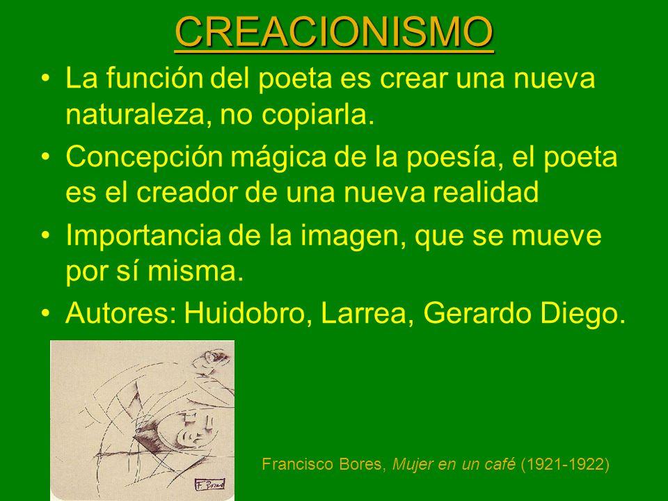 CREACIONISMO La función del poeta es crear una nueva naturaleza, no copiarla. Concepción mágica de la poesía, el poeta es el creador de una nueva real