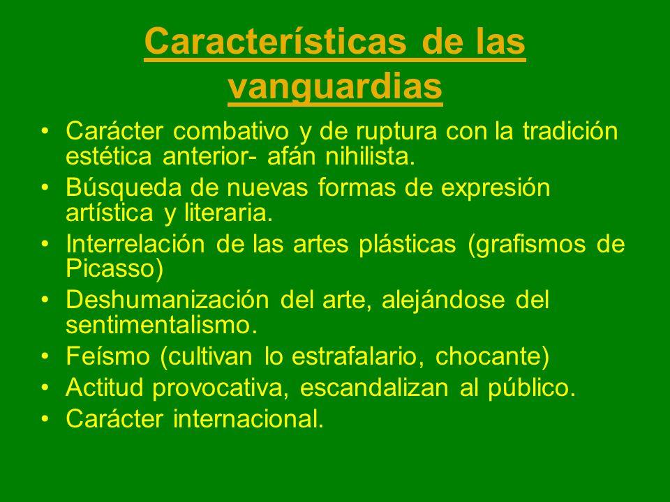 Características de las vanguardias Carácter combativo y de ruptura con la tradición estética anterior- afán nihilista. Búsqueda de nuevas formas de ex