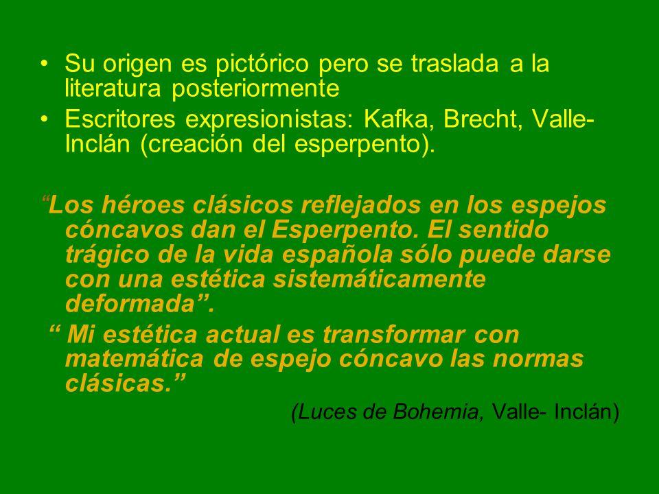 Su origen es pictórico pero se traslada a la literatura posteriormente Escritores expresionistas: Kafka, Brecht, Valle- Inclán (creación del esperpent