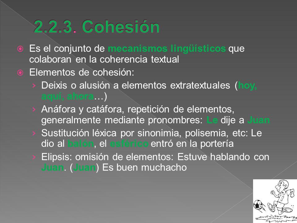 Es el conjunto de mecanismos lingüísticos que colaboran en la coherencia textual Elementos de cohesión: Deixis o alusión a elementos extratextuales (h
