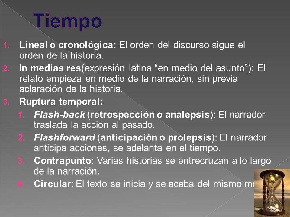 1. Lineal o cronológica: El orden del discurso sigue el orden de la historia. 2. In medias res(expresión latina en medio del asunto): El relato empiez
