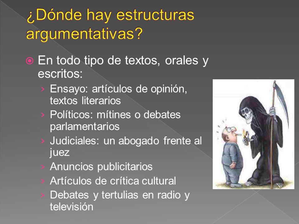 En todo tipo de textos, orales y escritos: Ensayo: artículos de opinión, textos literarios Políticos: mítines o debates parlamentarios Judiciales: un