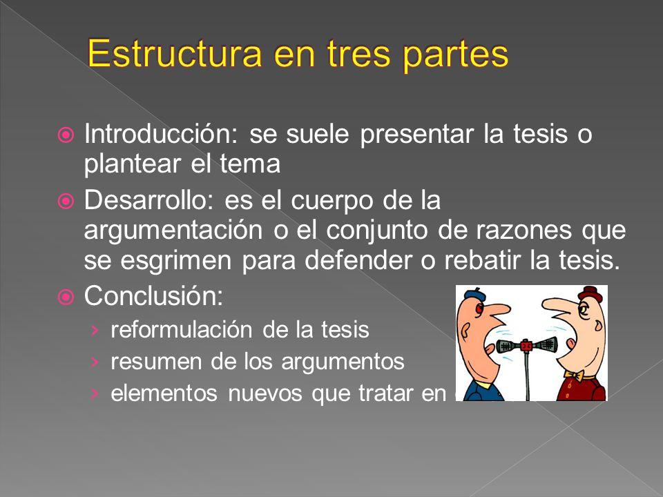 Introducción: se suele presentar la tesis o plantear el tema Desarrollo: es el cuerpo de la argumentación o el conjunto de razones que se esgrimen par