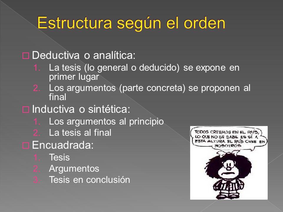 Deductiva o analítica: 1. La tesis (lo general o deducido) se expone en primer lugar 2. Los argumentos (parte concreta) se proponen al final Inductiva