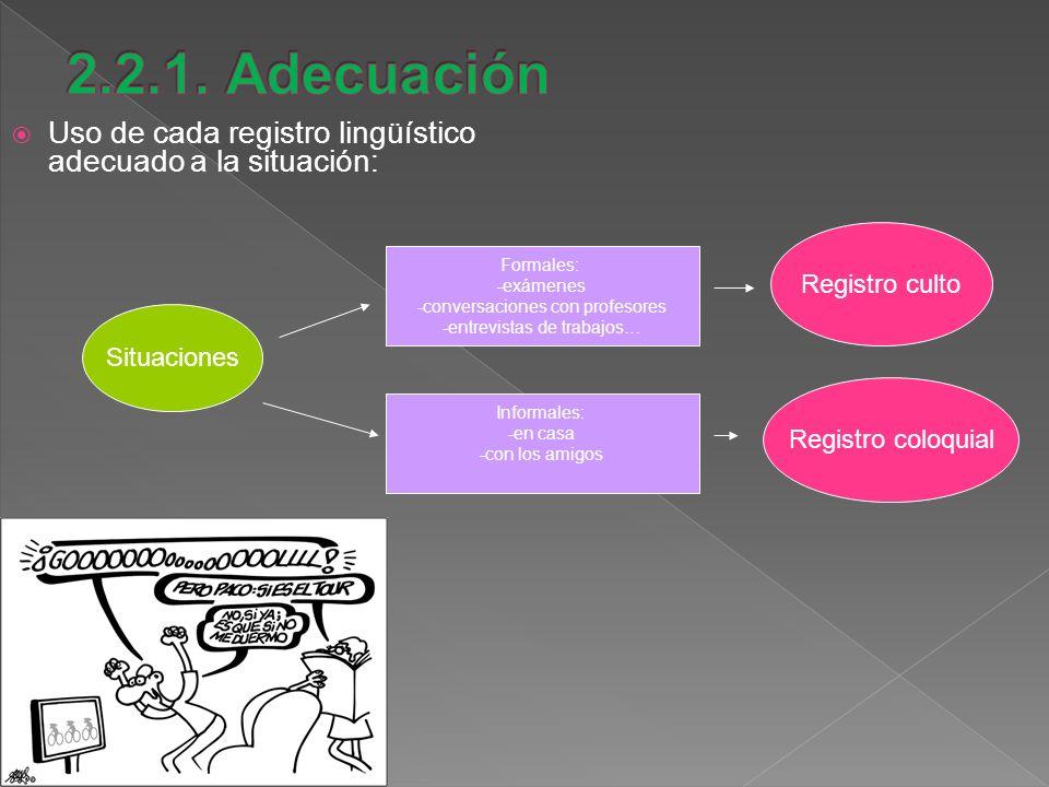 Uso de cada registro lingüístico adecuado a la situación: Situaciones Registro culto Formales: -exámenes -conversaciones con profesores -entrevistas d