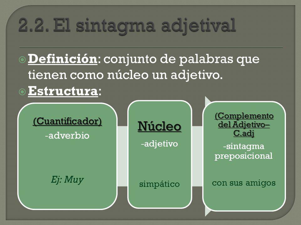 Definición: conjunto de palabras que tienen como núcleo un adjetivo. Estructura: (Cuantificador) - adverbio Ej: Muy Núcleo -adjetivo simpático (Comple