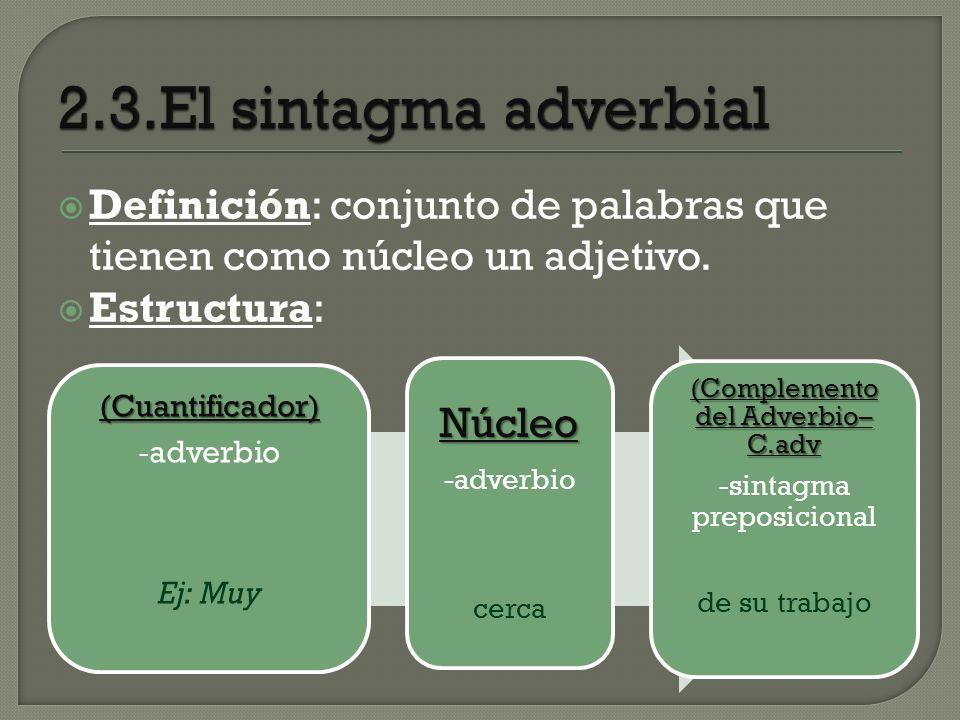 Definición: conjunto de palabras que tienen como núcleo un adjetivo. Estructura: (Cuantificador) - adverbio Ej: Muy Núcleo -adverbio cerca (Complement