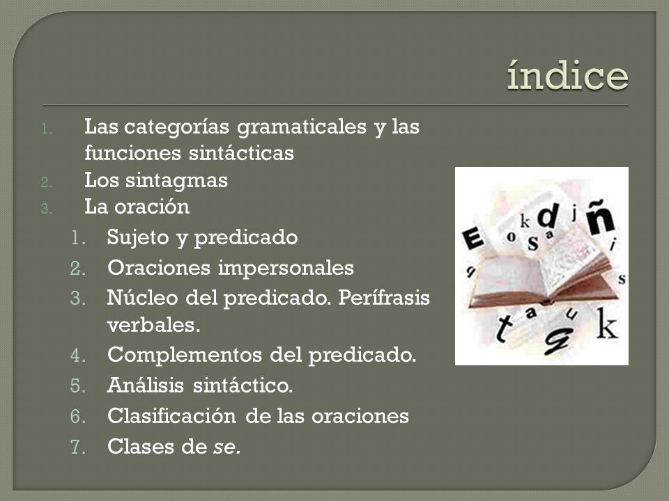 1. Las categorías gramaticales y las funciones sintácticas 2. Los sintagmas 3. La oración 1. Sujeto y predicado 2. Oraciones impersonales 3. Núcleo de