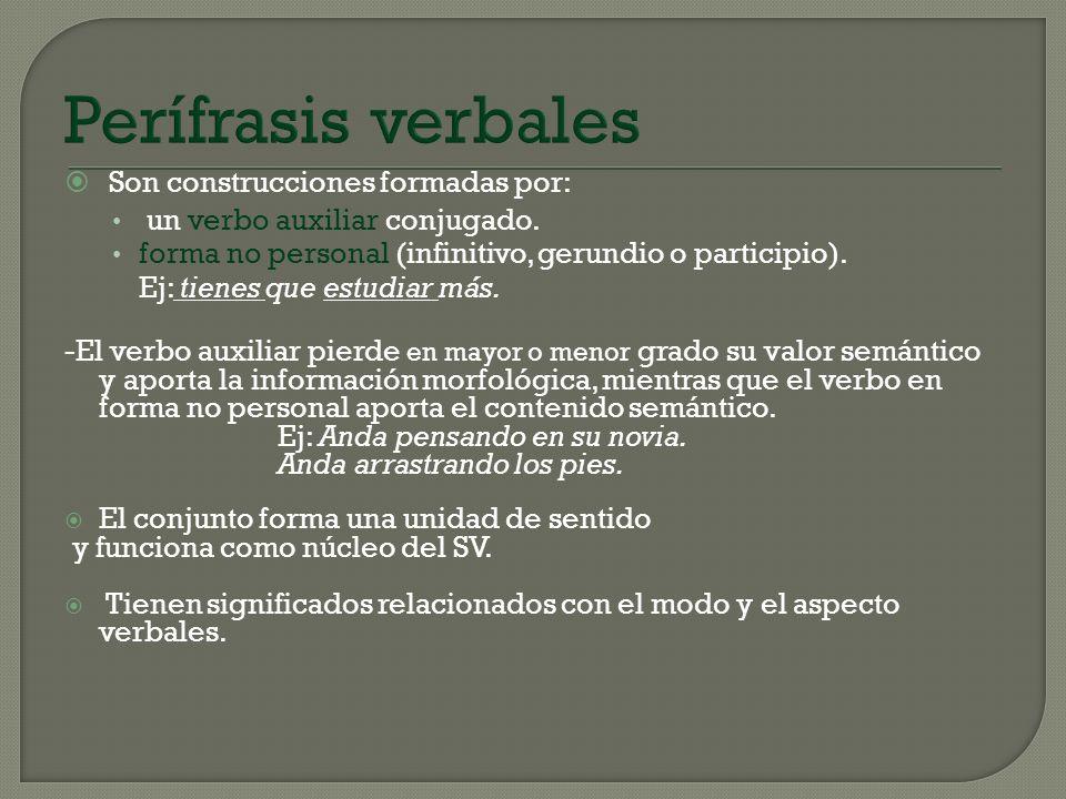 Perífrasis verbales Son construcciones formadas por: un verbo auxiliar conjugado. forma no personal (infinitivo, gerundio o participio). Ej: tienes qu