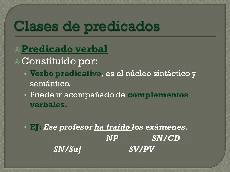 Predicado verbal Constituido por: Verbo predicativo, es el núcleo sintáctico y semántico. Puede ir acompañado de complementos verbales. EJ: Ese profes
