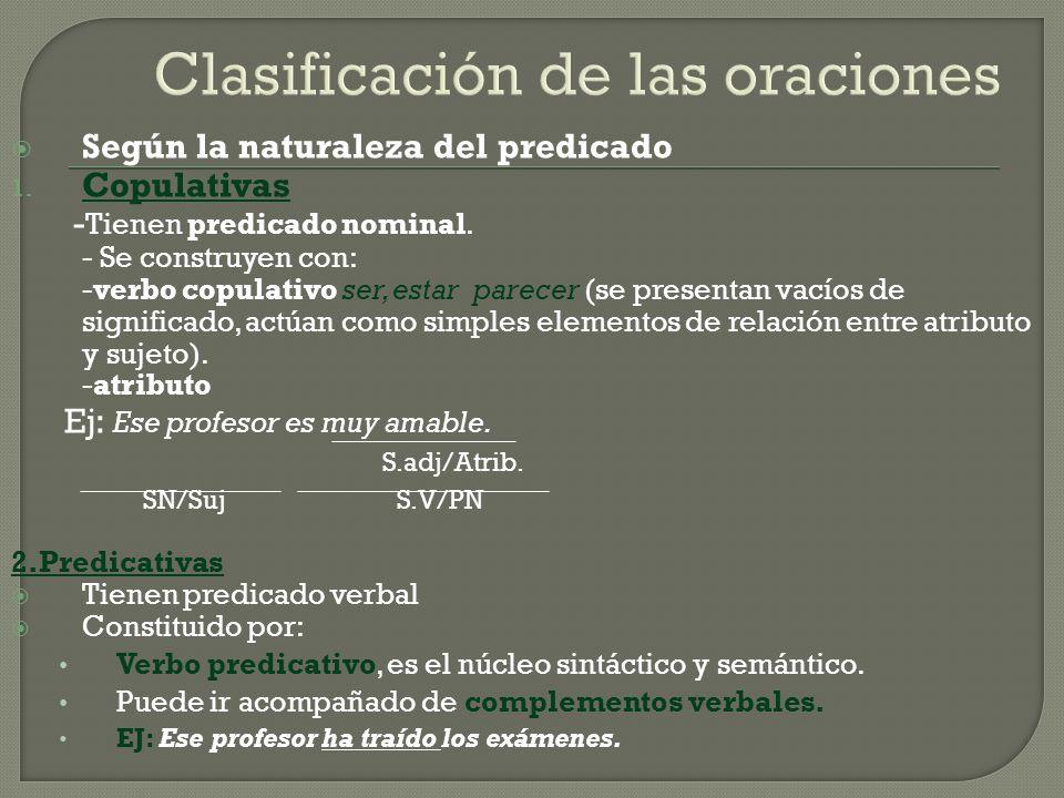 Clasificación de las oraciones Según la naturaleza del predicado 1. Copulativas - Tienen predicado nominal. - Se construyen con: -verbo copulativo ser