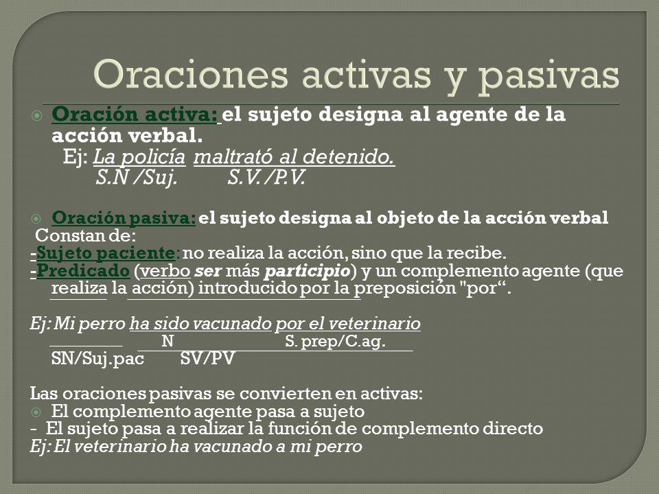 Oraciones activas y pasivas Oración activa: el sujeto designa al agente de la acción verbal. Ej: La policía maltrató al detenido. S.N /Suj.S.V. /P.V.
