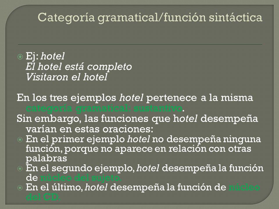Categoría gramatical/función sintáctica Ej: hotel El hotel está completo Visitaron el hotel En los tres ejemplos hotel pertenece a la misma categoría