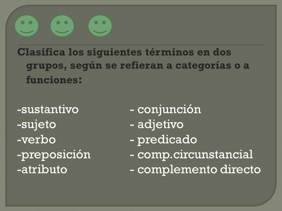 Clasifica los siguientes términos en dos grupos, según se refieran a categorías o a funciones : -sustantivo- conjunción -sujeto- adjetivo -verbo- pred