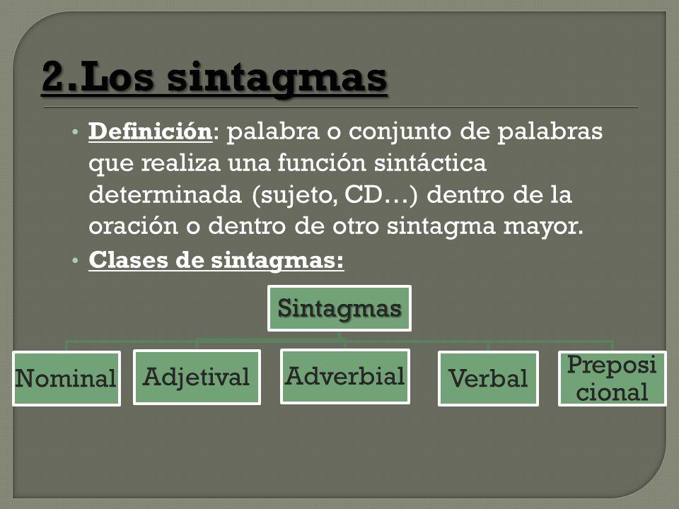 2.Los sintagmas Definición: palabra o conjunto de palabras que realiza una función sintáctica determinada (sujeto, CD…) dentro de la oración o dentro