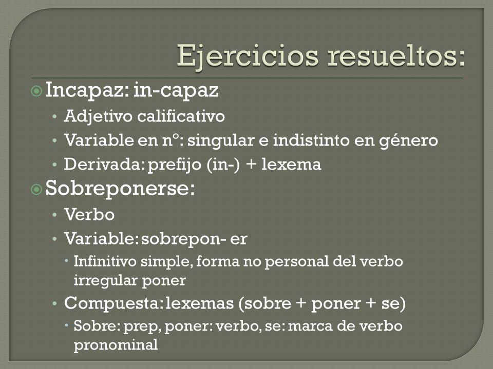 Incapaz: in-capaz Adjetivo calificativo Variable en nº: singular e indistinto en género Derivada: prefijo (in-) + lexema Sobreponerse: Verbo Variable: