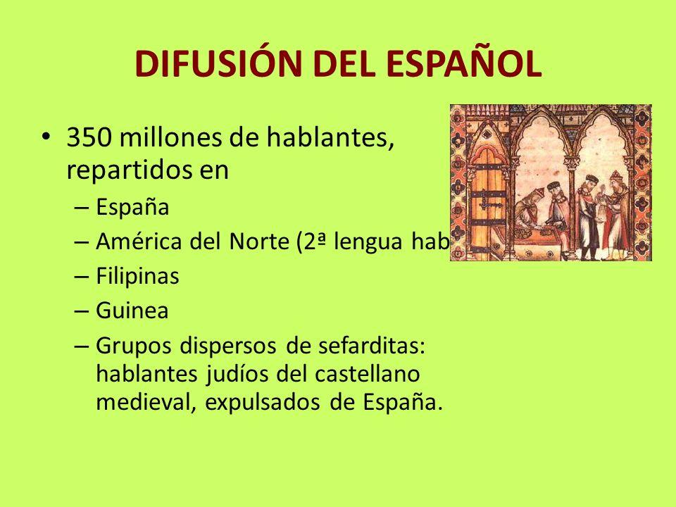 DIFUSIÓN DEL ESPAÑOL 350 millones de hablantes, repartidos en – España – América del Norte (2ª lengua hablada) – Filipinas – Guinea – Grupos dispersos