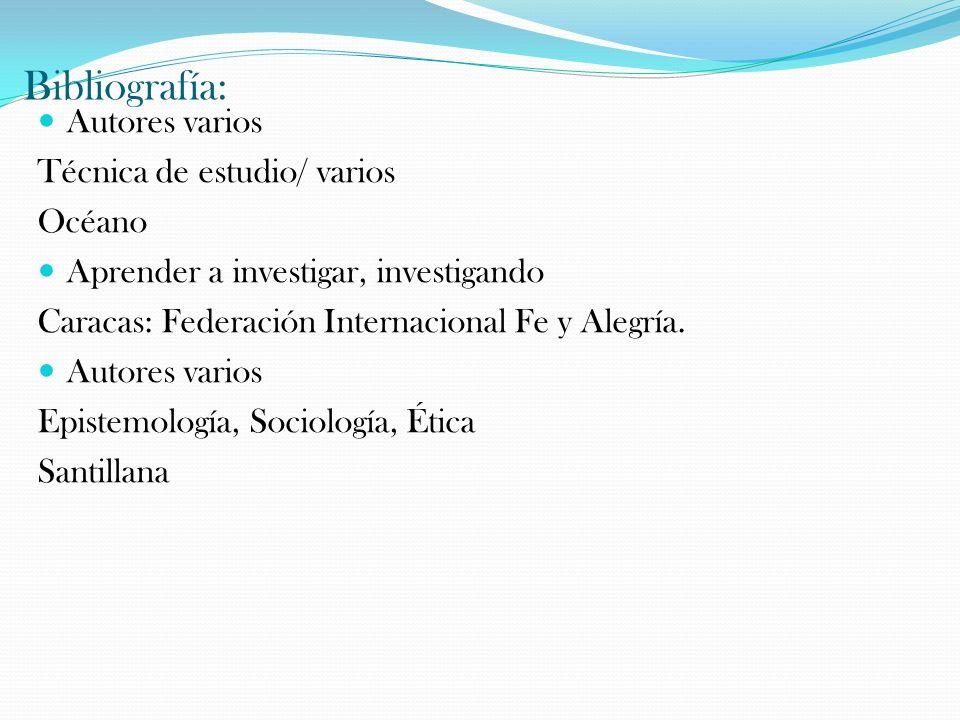 Bibliografía: Autores varios Técnica de estudio/ varios Océano Aprender a investigar, investigando Caracas: Federación Internacional Fe y Alegría. Aut