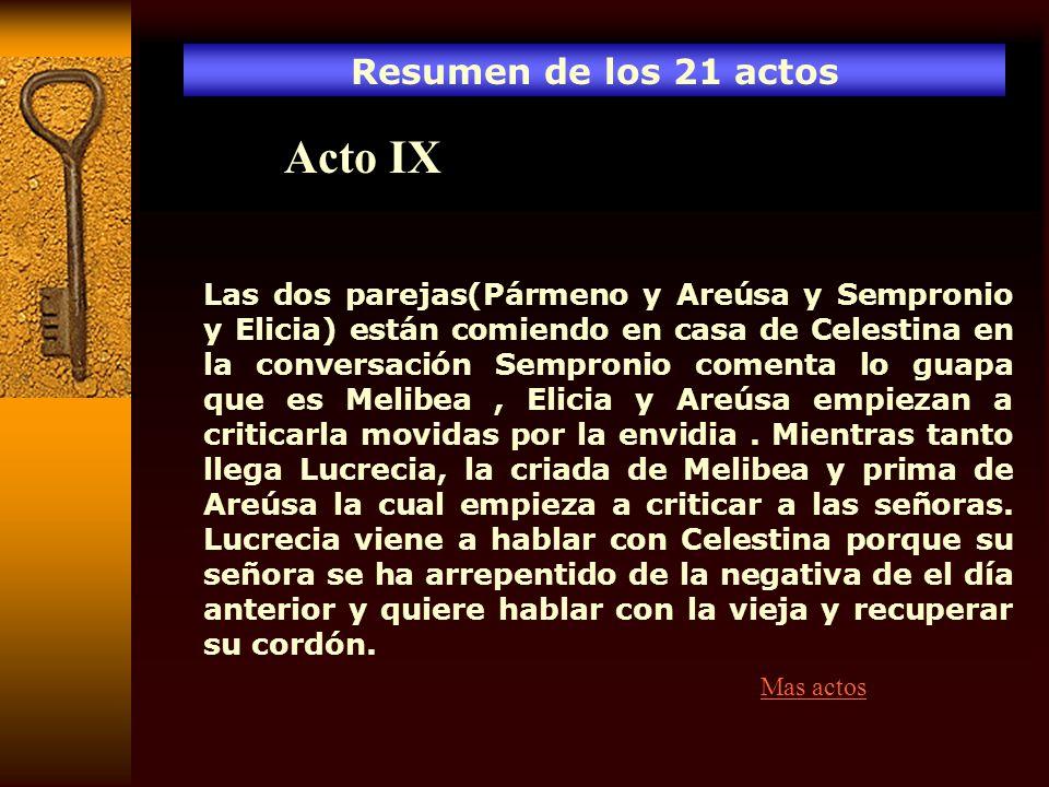 Resumen de los 21 actos Acto IX Las dos parejas(Pármeno y Areúsa y Sempronio y Elicia) están comiendo en casa de Celestina en la conversación Semproni
