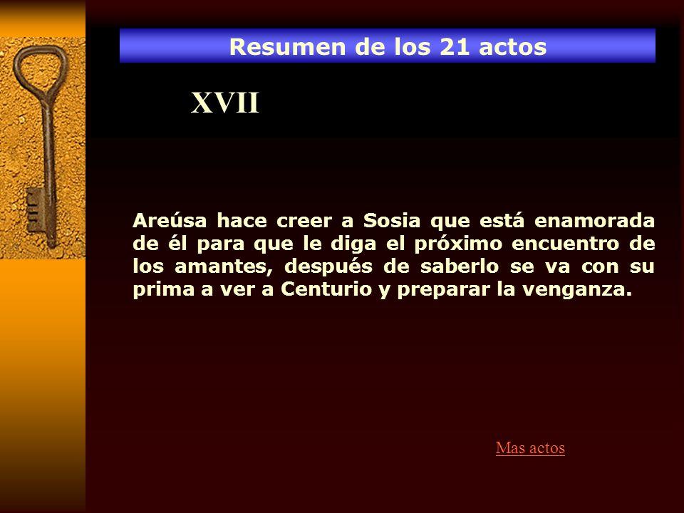 Resumen de los 21 actos XVII Areúsa hace creer a Sosia que está enamorada de él para que le diga el próximo encuentro de los amantes, después de saber