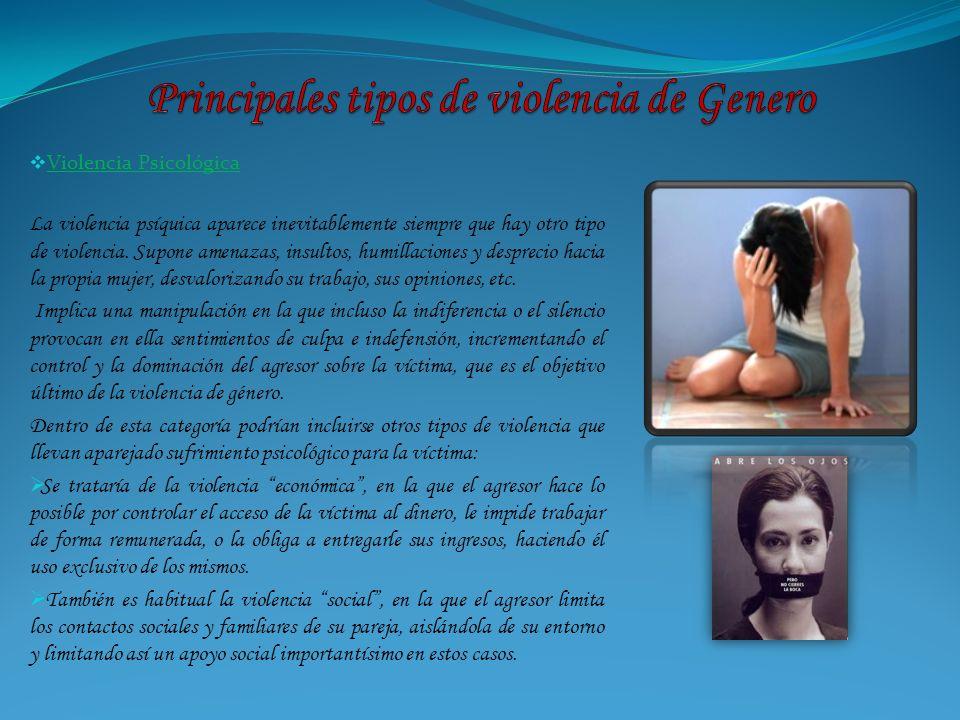 Violencia Psicológica La violencia psíquica aparece inevitablemente siempre que hay otro tipo de violencia. Supone amenazas, insultos, humillaciones y