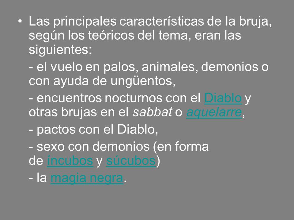Las principales características de la bruja, según los teóricos del tema, eran las siguientes: - el vuelo en palos, animales, demonios o con ayuda de