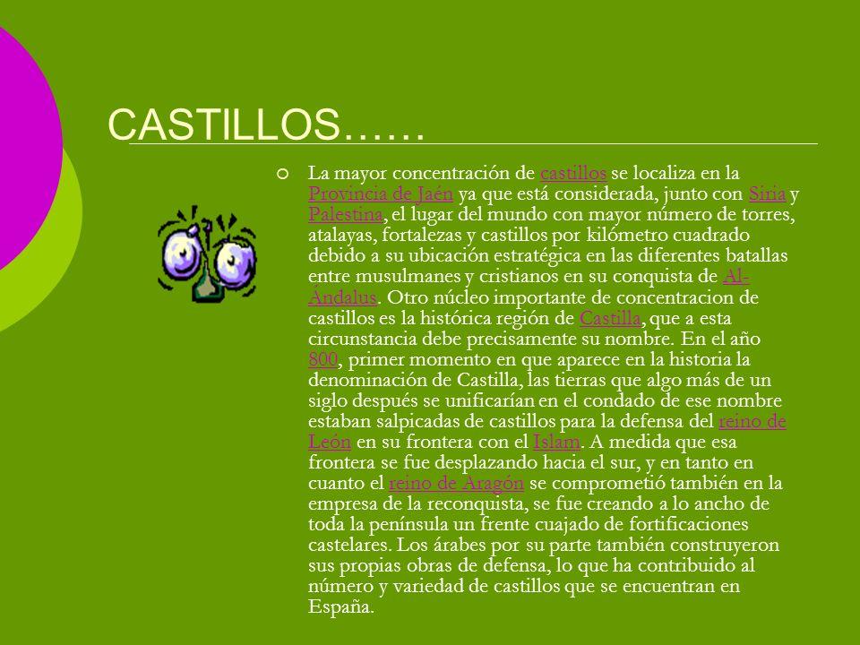 CASTILLOS…… La mayor concentración de castillos se localiza en la Provincia de Jaén ya que está considerada, junto con Siria y Palestina, el lugar del mundo con mayor número de torres, atalayas, fortalezas y castillos por kilómetro cuadrado debido a su ubicación estratégica en las diferentes batallas entre musulmanes y cristianos en su conquista de Al- Ándalus.