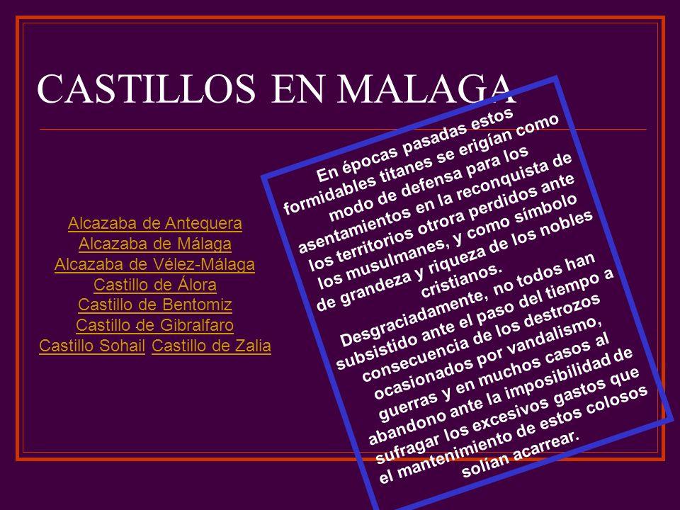 CASTILLOS EN MALAGA Alcazaba de Antequera Alcazaba de Málaga Alcazaba de Vélez-Málaga Castillo de Álora Castillo de Bentomiz Castillo de Gibralfaro Castillo SohailCastillo Sohail Castillo de ZaliaCastillo de Zalia..