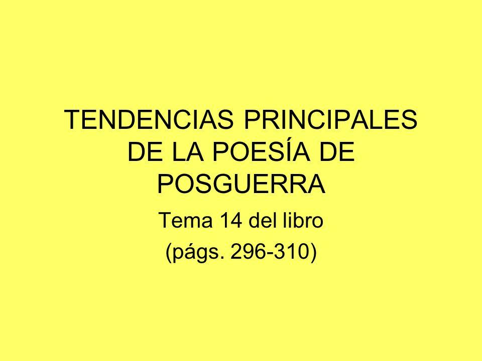 LIRICA DE POSGUERRA AÑOS 40 existencialismo ANTECEDENTES AÑOS 50 social AÑOS 60 experimentación ARRAIGADA DESARRAIGADA OTROS