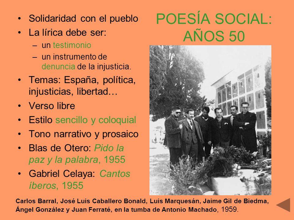 POESÍA SOCIAL: AÑOS 50 Solidaridad con el pueblo La lírica debe ser: –un testimonio –un instrumento de denuncia de la injusticia. Temas: España, polít