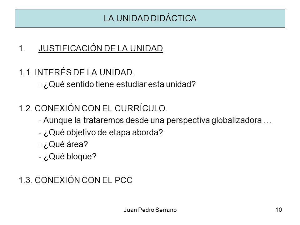 Juan Pedro Serrano10 LA UNIDAD DIDÁCTICA 1.JUSTIFICACIÓN DE LA UNIDAD 1.1. INTERÉS DE LA UNIDAD. - ¿Qué sentido tiene estudiar esta unidad? 1.2. CONEX