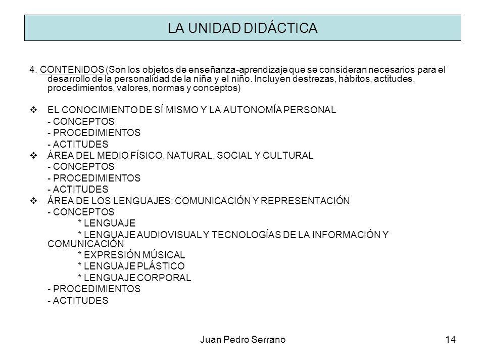 Juan Pedro Serrano14 LA UNIDAD DIDÁCTICA 4. CONTENIDOS (Son los objetos de enseñanza-aprendizaje que se consideran necesarios para el desarrollo de la