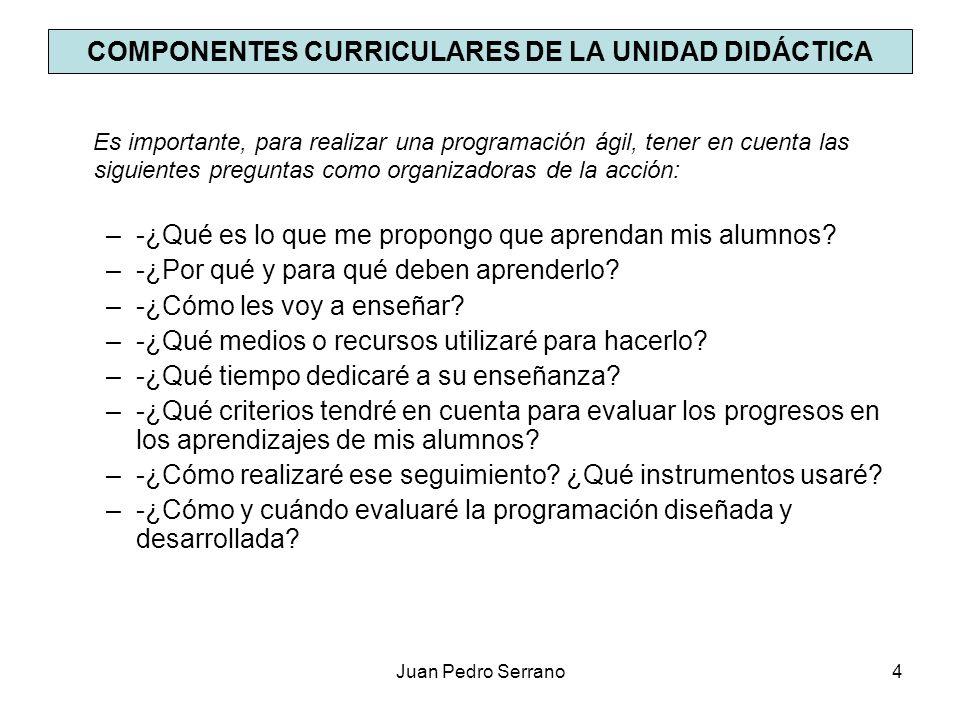 Juan Pedro Serrano5 CONCEPTOS PREVIOS LOS OBJETIVOS DIDÁCTICOS, O DE APRENDIZAJE - La manera en que el/la alumno/a demuestra que ha aprendido lo que hemos pretendido enseñarle.