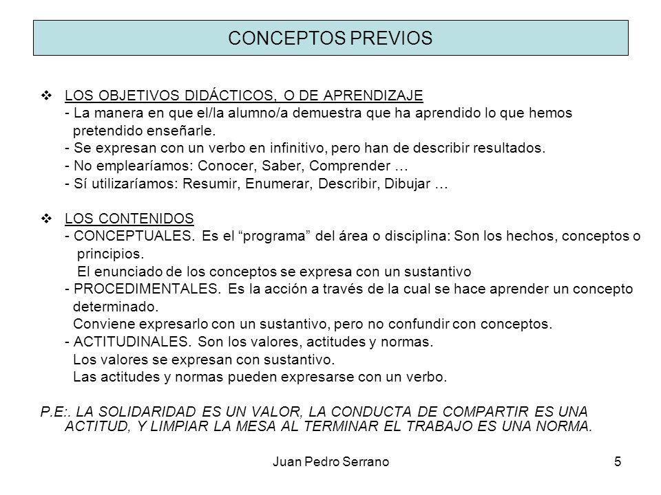 Juan Pedro Serrano5 CONCEPTOS PREVIOS LOS OBJETIVOS DIDÁCTICOS, O DE APRENDIZAJE - La manera en que el/la alumno/a demuestra que ha aprendido lo que h