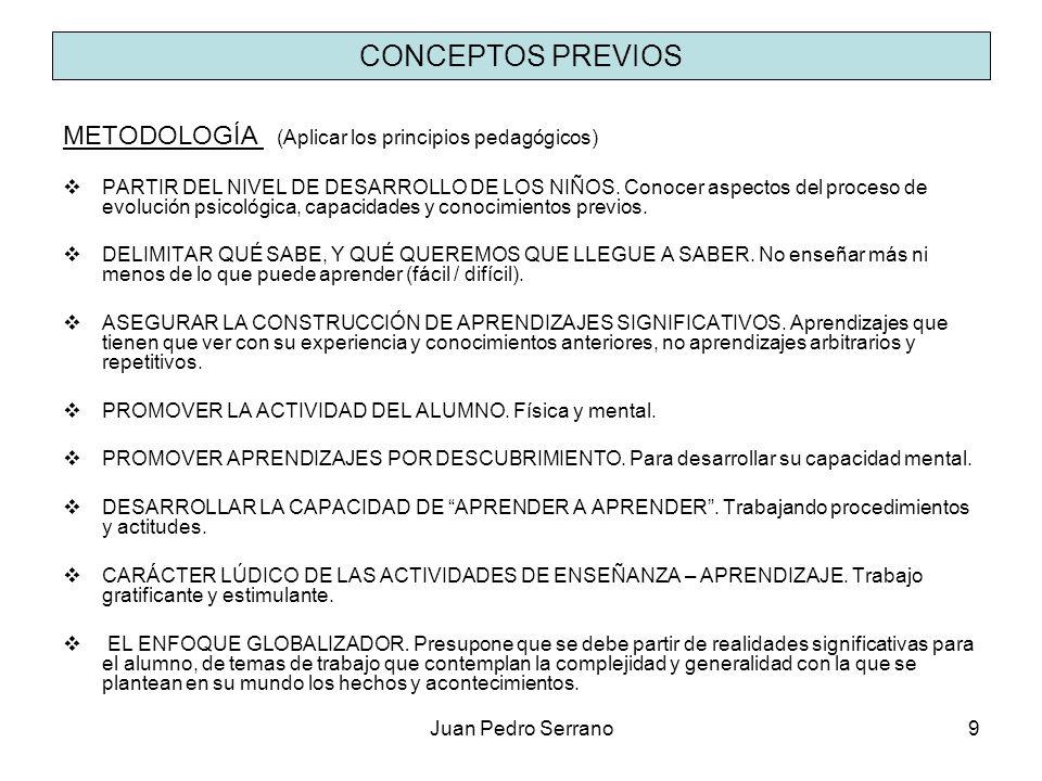 Juan Pedro Serrano9 CONCEPTOS PREVIOS METODOLOGÍA (Aplicar los principios pedagógicos) PARTIR DEL NIVEL DE DESARROLLO DE LOS NIÑOS. Conocer aspectos d